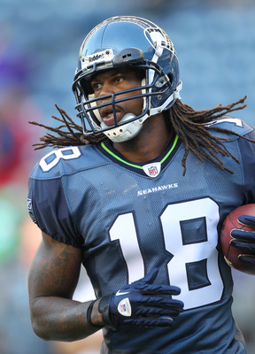 SEATTLE - AUGUST 20:  Wide receiver Sidney Rice #18 of the Seattle Seahawks warms up prior to the game against the Minnesota Vikings at CenturyLink Field on August 20, 2011 in Seattle, Washington. The Vikings won 20-7. (Photo by Otto Greule Jr/Getty Image