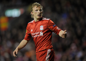 LIVERPOOL, ENGLAND - MARCH 17:  Dirk Kuyt of Liverpool reacts during the UEFA Europa League Round of 16 second leg match between Liverpool and SC Braga at Anfield on March 17, 2011 in Liverpool, England.  (Photo by Michael Regan/Getty Images)