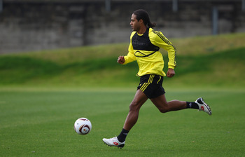 LIVERPOOL, ENGLAND - NOVEMBER 03: Glen Johnson of Liverpool in action during a training session ahead of their UEFA Europa League match against SSC Napoli at Melwood Training Ground  on November 3, 2010 in Liverpool, England.  (Photo by Clive Brunskill/Ge