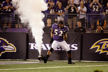 BALTIMORE, MD - AUGUST 25:  Linebacker Ray Lewis #52 of the Baltimore Ravens is introduced before the start of a preaseon game against the Washington Redskins at M&T Bank Stadium on August 25, 2011 in Baltimore, Maryland.  (Photo by Rob Carr/Getty Images)