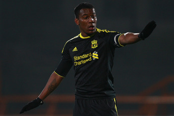 LONDON, ENGLAND - MARCH 16:  Andre Wisdom of Liverpool signals during the Barclays Premier Reserve League match between Arsenal and Liverpool at the Underhill Stadium on March 16, 2011 in London, England.  (Photo by Dan Istitene/Getty Images)