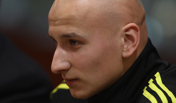 LIVERPOOL, ENGLAND - DECEMBER 14:  Jonjo Shelvey of Liverpool listens to a question from a journalist during the press conference ahead of their UEFA Europa League Group K match against Utrecht at Anfield on December 14, 2010 in Liverpool, England.  (Phot