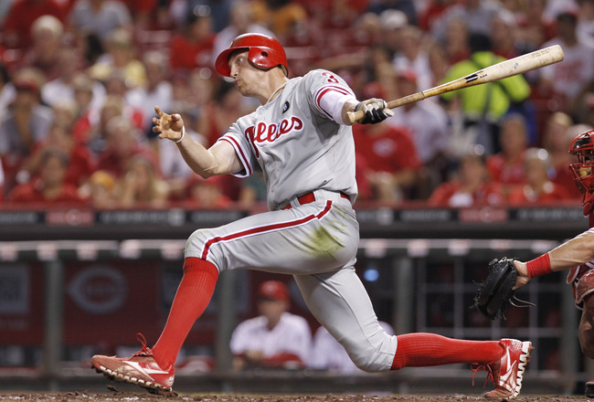 CINCINNATI, OH - AUGUST 31: Hunter Pence #3 of the Philadelphia Phillies bats during the game against the Cincinnati Reds at Great American Ball Park on August 31, 2011 in Cincinnati, Ohio. (Photo by Joe Robbins/Getty Images)