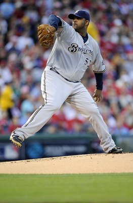 PHILADELPHIA - OCTOBER 02:  CC Sabathia #52 of the Milwaukee Brewers delivers in Game 2 of the NLDS Playoff against the Philadelphia Phillies  at Citizens Bank Ballpark on October 2, 2008 in Philadelphia, Pennsylvania  (Photo by Jeff Zelevansky/Getty Imag