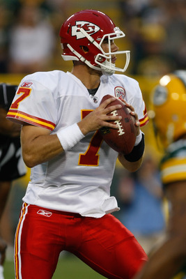 GREEN BAY, WI - SEPTEMBER 1: Matt Cassel #7 of the Kansas City Chiefs drops back to pass during a preseason game against the Green Bay Packers at Lambeau Field on September 1, 2011 in Green Bay, Wisconsin. (Photo by Scott Boehm/Getty Images)
