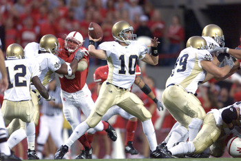 8 Sep 2001:  Quarterback Matt LoVecchio #10 of the Notre Dame Fighting Irish passes the ball during the game against the Nebraska Cornhuskers at Memorial Stadium in Lincoln, Nebraska.  The Cornhuskers won 27-17.  DIGITAL IMAGE  Mandatory Credit: Brian Bah