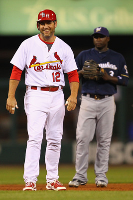 ST. LOUIS, MO -SEPTEMBER 7: Lance Berkman #12 of the St. Louis Cardinals looks to the dugout after hitting a double against the Milwaukee Brewers at Busch Stadium on September 7, 2011 in St. Louis, Missouri.  The Cardinals beat the Brewers 2-0.  (Photo by