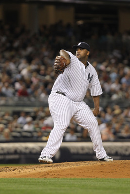 NEW YORK, NY - AUGUST 24:  CC Sabathia #52 of the New York Yankees pitches against the Oakland Athletics on August 24, 2011 at Yankee Stadium in the Bronx borough of New York City.  (Photo by Nick Laham/Getty Images)