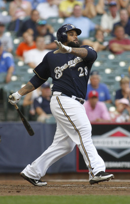 MILWAUKEE, WI - SEPTEMBER 1:  Prince Fielder #28 of the Milwaukee Brewers Swings for a strike during game action against the St Louis Cardinals at Miller Park on September 1, 2011 in Milwaukee, Wisconsin. The Cardinals beat the Brewers 8-4.(Photo by Mark