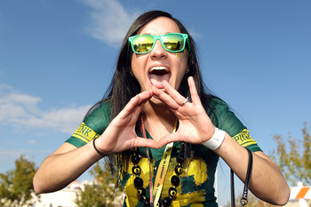GLENDALE, AZ - JANUARY 10:  Oregon Ducks fan Annie Barker of Eugene, Oregon poses before the Tostitos BCS National Championship Game between the Ducks and the Auburn Tigers at University of Phoenix Stadium on January 10, 2011 in Glendale, Arizona.  (Photo