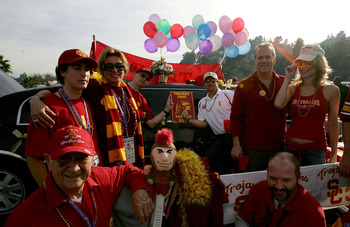 PASADENA, CA - JANUARY 04:  USC Trojan fans, the Shermack family, tailgates before the start of the BCS National Championship Rose Bowl Game against the Texas Longhorns at the Rose Bowl on January 4, 2006 in Pasadena, California.  (Photo by Lisa Blumenfel
