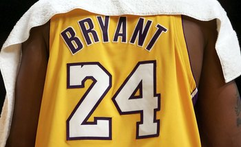LOS ANGELES, CA - NOVEMBER 03: The back of the jersey worn by Kobe Bryant #24 of the Los Angeles Lakers during the first half against the Seattle SuperSonics on November 3, 2006 at Staples Center in Los Angeles, California. Bryant changed his number in th
