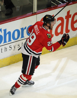CHICAGO, IL - APRIL 24: Bryan Bickell #29 of the Chicago Blackhawks celebrates his 1st period goal against the Vancouver Canucks in Game Six of the Western Conference Quarterfinals during the 2011 NHL Stanley Cup Playoffs at the United Center on April 24,