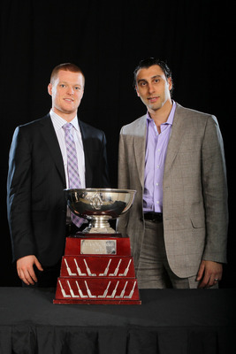 LAS VEGAS, NV - JUNE 22:  Cory Schneider and Roberto Luongo of the Vancouver Canucks pose after winning the William M. Jennings Trophy during the 2011 NHL Awards at The Pearl concert theater at the Palms Casino Resort June 22, 2011 in Las Vegas, Nevada.