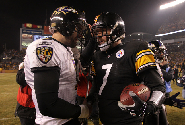 PITTSBURGH, PA - JANUARY 15:  Quarterback Ben Roethlisberger #7 of the Pittsburgh Steelers speaks with quarterback Joe Flacco #5 of the Baltimore Ravens following the AFC Divisional Playoff Game at Heinz Field on January 15, 2011 in Pittsburgh, Pennsylvan