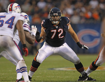 CHICAGO, IL - AUGUST 13: Gabe Carimi #72 of the Chicago Bears moves to block against the Buffalo Bills during a preseason game at Soldier Field on August 13, 2011 in Chicago, Illinois. (Photo by Jonathan Daniel/Getty Images)