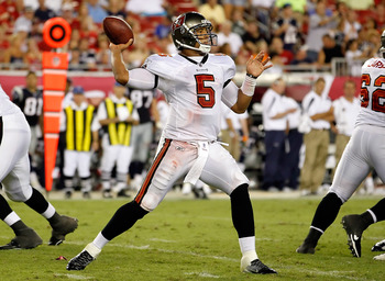 TAMPA, FL - AUGUST 18:  Quarterback Josh Freeman #5 of the Tampa Bay Buccaneers throws a pass against the New England Patriots during a preseason game at Raymond James Stadium on August 18, 2011 in Tampa, Florida.  (Photo by J. Meric/Getty Images)