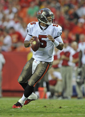 KANSAS CITY, MO - AUGUST 12:  Quarterback Josh Freeman #5 of the Tampa Bay Buccaneers in action during a game against the Kansas City Chiefs on August 12, 2011 at Arrowhead Stadium in Kansas City, Missouri.  (Photo by Peter Aiken/Getty Images)