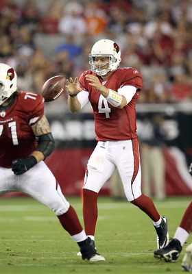 GLENDALE, AZ - SEPTEMBER 01:  Quarterback Kevin Kolb #4 of the Arizona Cardinals snaps the football during the preseason NFL game against the Denver Broncos at the University of Phoenix Stadium on September 1, 2011 in Glendale, Arizona. The Cardinals defe