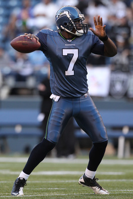 SEATTLE, WA - SEPTEMBER 02:  Quarterback Tarvaris Jackson #7 of the Seattle Seahawks warms up prior to the game against the Oakland Raiders at CenturyLink Field on September 2, 2011 in Seattle, Washington. (Photo by Otto Greule Jr/Getty Images)
