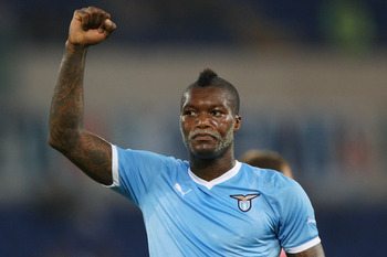 ROME, ITALY - AUGUST 18:  Djibril Cisse of SS Lazio celebrates after scoring his second goal during the UEFA Europa League playoff first leg match between S.S. Lazio and FK Rabotnicki at Olimpico stadium on August 18, 2011 in Rome, Italy.  (Photo by Paolo