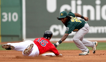 BOSTON, MA - AUGUST 27: Dustin Pedroia #15 of the Boston Red Sox is tagged out at second by Jemile Weeks #19 of the Oakland Athletics at Fenway Park August 27, 2011 in Boston, Massachusetts. (Photo by Jim Rogash/Getty Images)