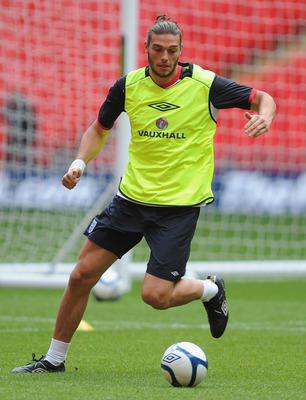 LONDON, ENGLAND - SEPTEMBER 05: Andy Carroll in action during the England training session ahead of their UEFA EURO 2012 Group G qualifier against Wales at Wembley Stadium on September 5, 2011 in London, England.  (Photo by Michael Regan/Getty Images)
