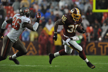 LANDOVER, MD - DECEMBER 12:  Keiland Williams #35 of the Washington Redskins runs the ball against the Tampa Bay Buccaneers  at FedExField on December 12, 2010 in Landover, Maryland. The Buccaneers defeated the Redskins 17-16. (Photo by Larry French/Getty