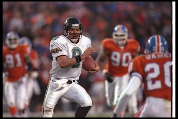 4 Jan 1997:  Quarterback Mark Brunell of the Jacksonville Jaguars moves the ball during a playoff game against the Denver Broncos at Mile High Stadium in Denver, Colorado.  The Jaguars won the game, 30-27. Mandatory Credit: Otto Greule  /Allsport