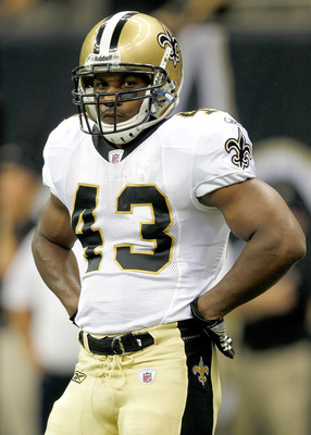 NEW ORLEANS, LA - AUGUST 12: Darren Sproles # 43 of the New Orleans Saints looks on during warm ups before his team plays the San Francisco 49ers during their preseason game at Louisiana Superdome on August 12, 2011 in New Orleans, Louisiana.  (Photo by S