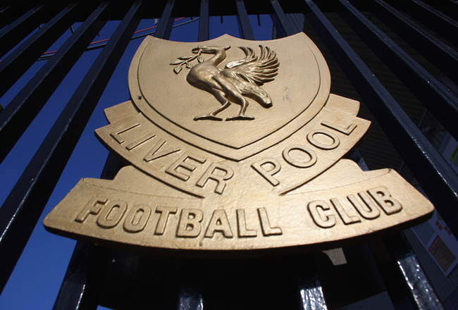 LIVERPOOL, ENGLAND - OCTOBER 12:  The Liverpool Football Club emblem, the Liver Bird, adorns the  gates of Anfield on October 12, 2010 in Liverpool, England. The Royal Bank of Scotland, which holds the majority of Liverpool's debts, is seeking a high cour