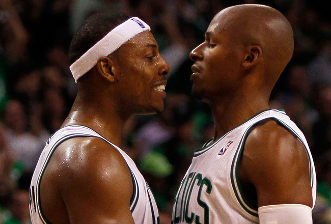 BOSTON, MA - OCTOBER 26:  Ray Allen #20 of the Boston Celtics celebrates his basket with teammate Paul Pierce #34 during a game against the Miami Heat at the TD Banknorth Garden on October 26, 2010 in Boston, Massachusetts. NOTE TO USER: User expressly ac