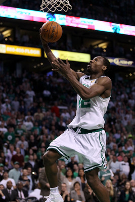 BOSTON - JUNE 13:  Tony Allen #42 of the Boston Celtics goes to the basket against the Los Angeles Lakers during Game Five of the 2010 NBA Finals on June 13, 2010 at TD Garden in Boston, Massachusetts. The Celtics won 92-86. NOTE TO USER: User expressly a