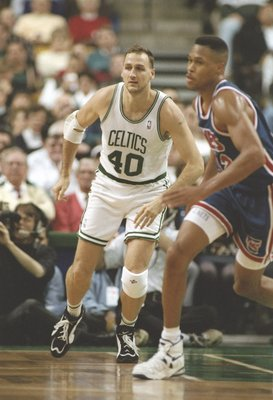 1 Dec 1995:  Forward Dino Radja of the Boston Celtics watches his man during a game against the New Jersey Nets at the Fleet Center in Boston, Massachusetts.  The Nets won the game 131-123. Mandatory Credit: Allsport  /Allsport