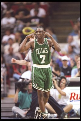 4 Apr 1996: Guard Dee Brown of the Boston Celtics stands on the court during a game against the Orlando Magic at the Orlando Arena in Orlando, Florida. The Celtics won the game 100-98.