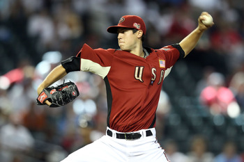 PHOENIX, AZ - JULY 10:  U.S. Futures All-Star Tyler Skaggs #11 of the Arizona Diamondbacks pitches in the first inning during the 2011 XM All-Star Futures Game at Chase Field on July 10, 2011 in Phoenix, Arizona.  (Photo by Christian Petersen/Getty Images