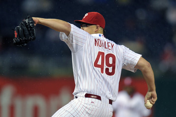 PHILADELPHIA, PA - SEPTEMBER 06: Starting pitcher Vance Worley #49 of the Philadelphia Phillies delivers a pitch during the game against the Atlanta Braves at Citizens Bank Park on September 6, 2011 in Philadelphia, Pennsylvania. (Photo by Drew Hallowell/