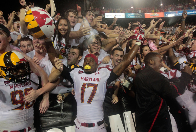 COLLEGE PARK, MD - SEPTEMBER 05: Quintin McCree #17 of the Maryland Terrapins celebrates the Terrapins 32-24 win over the Miami Hurricanes  at Byrd Stadium on September 5, 2011 in College Park, Maryland. (Photo by Rob Carr/Getty Images)