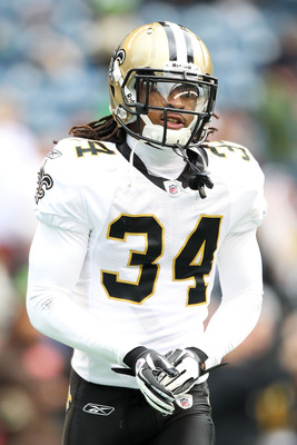 SEATTLE, WA - JANUARY 08:  Patrick Robinson #34 of the New Orleans Saints looks on against the Seattle Seahawks during the 2011 NFC wild-card playoff game at Qwest Field on January 8, 2011 in Seattle, Washington.  (Photo by Otto Greule Jr/Getty Images)