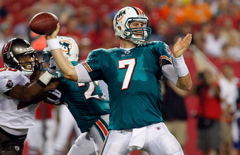 TAMPA, FL - AUGUST 27:  Quarterback Chad Henne #7 of the Miami Dolphins throws a pass against the Tampa Bay Buccaneers during a preseason game at Raymond James Stadium on August 27, 2011 in Tampa, Florida.  (Photo by J. Meric/Getty Images)
