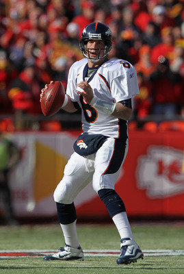 KANSAS CITY, MO - DECEMBER 05:  Quarterback Kyle Orton #8 of the Denver Broncos in action during the game against the Kansas City Chiefs on December 5, 2010 at Arrowhead Stadium in Kansas City, Missouri.  (Photo by Jamie Squire/Getty Images)