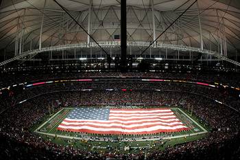 ATLANTA, GA - JANUARY 15:  A general view of a giant American Flag as it's stretched across the field for the performance of the National Anthem prior to the Atlanta Falcons playing against the Green Bay Packers during their 2011 NFC divisional playoff ga