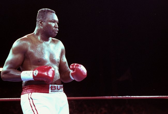 19 Jun 1992: Larry Holmes looks on during his fight against Evander Holyfield in Las Vegas, Nevada. Holyfield won the bout with an unanimous decision after 12 rounds.