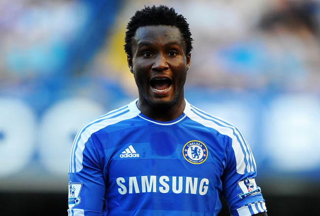 LONDON, ENGLAND - AUGUST 20:  John Obi Mikel of Chelsea gestures during the Barclays Premier League match between Chelsea and West Bromwich Albion at Stamford Bridge on August 20, 2011 in London, England.  (Photo by Laurence Griffiths/Getty Images)