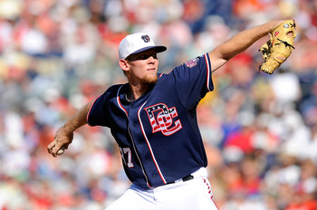 WASHINGTON - JULY 03:  Stephen Strasburg #37 of the Washington Nationals pitches against the New York Mets at Nationals Park on July 3, 2010 in Washington, DC.  (Photo by Greg Fiume/Getty Images)