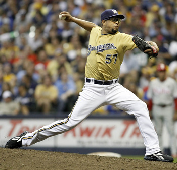 MILWAUKEE, WI - SEPTEMBER 10: Francisco Rodriguez #57 of the Milwaukee Brewers pitches against the Philadelphia Phillies at Miller Park on September 10, 2011 in Milwaukee, Wisconsin. The Phillies beat the Brewers 3-2.  (Photo by Mark Hirsch/Getty Images)