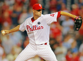 PHILADELPHIA , PA - AUGUST 18:  Ryan Madson #46 of the Philadelphia Phillies closes out a 4-1 win against the Arizona Diamondbacks at Citizens Bank Park on August 18, 2011 in Philadelphia, Pennsylvania.  The win gave the Phillies their 80th victory of the