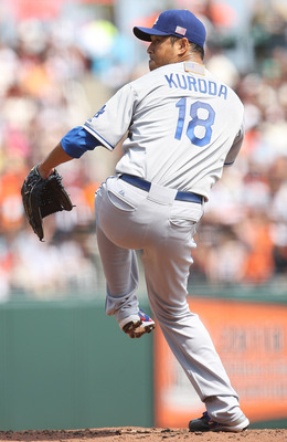 SAN FRANCISCO, CA - SEPTEMBER 11: Hiroki Kuroda #18 of the Los Angeles Dodgers pitches during a game against the San Francisco Giants at AT&T Park on September 11, 2011 in San Francisco, California. (Photo by Tony Medina/Getty Images)