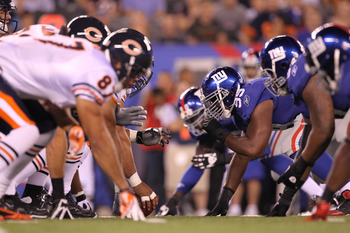 EAST RUTHERFORD, NJ - AUGUST 22:  New York Giants and Chicago Bears  in action during their pre season game on August 22, 2011 at The New Meadowlands Stadium in East Rutherford, New Jersey.  (Photo by Al Bello/Getty Images)