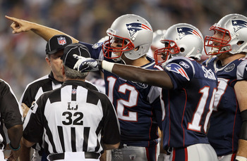 FOXBORO, MA - SEPTEMBER 01:  Tom Brady #12 and  Matthew Slater #18 of the New England Patriots react after the play is initially called short in the endzone against the New York Giants on September 1, 2011 at Gillette Stadium in Foxboro, Massachusetts.The
